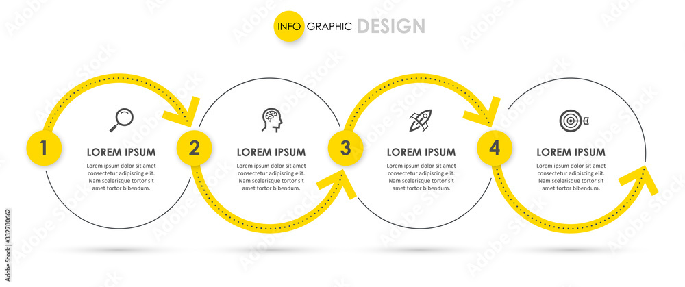 Fototapeta Vector Infographic design with icons and 4 options or steps. Infographics for business concept. Can be used for presentations banner, workflow layout, process diagram, flow chart, info graph