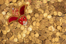 Pile Of Small Golden Coins Wit...