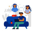 Flat Style Design. Freelancer Working at Home Telecommuting Vector Illustration