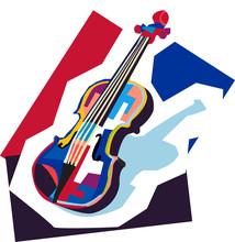 Colorful Pop Art Violin Vector Wpap, Illustration, Wall Art Decoration, Cover Poster, Modern Art