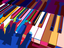 Colorful Pop Art Piano Vector Wpap, Illustration, Wall Art Decor