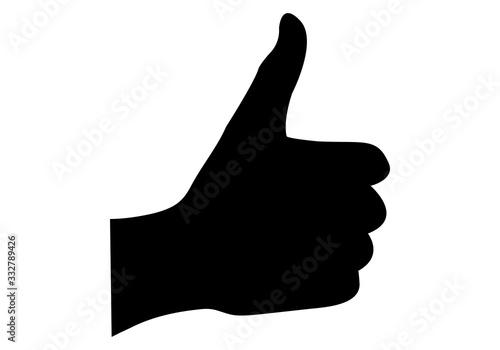 Photo Silueta de mano con pulgar hacia arriba.