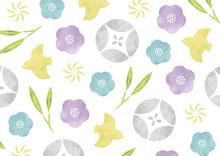 パステルカラーの花などの和柄