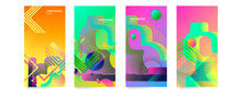 Set Bright Positive Minimal Covers Design. Colorful Summer Halftone Gradients And Lines. Future Geometric Patterns. Eps 10 Vector