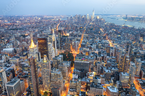Fototapety, obrazy: Lower and Midtown Manhattan at summer sunset, New York City