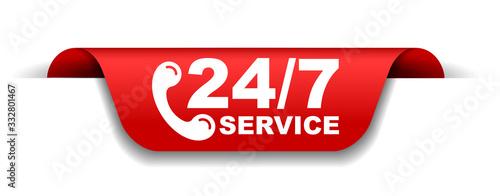 Slika na platnu red vector illustration banner 24/7 service