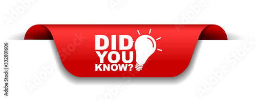 Obraz red vector illustration banner did you know - fototapety do salonu