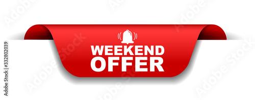 Fotografía red vector illustration banner weekend offer