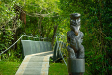 Statue And Bridge At Ship Cove On Queen Charlotte Track In Marlborough Sounds New Zealand