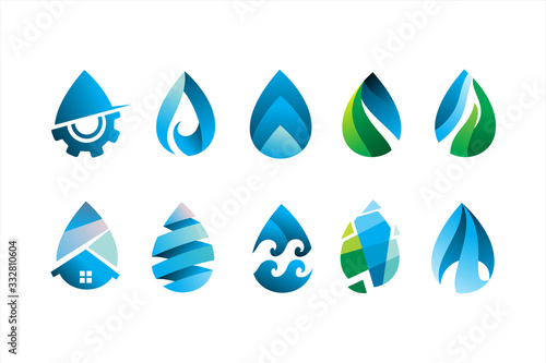Fotografía pack of modern water drop logo icon vector illustration