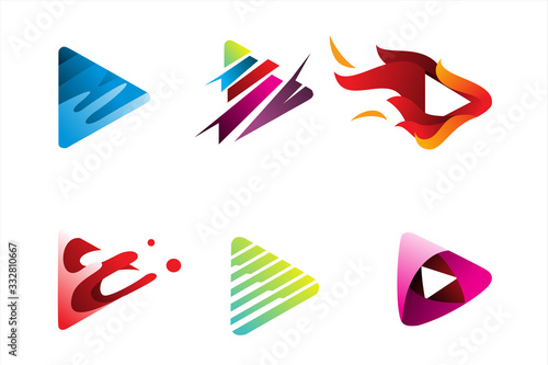 Fotografija pack of play button logo icon illustration