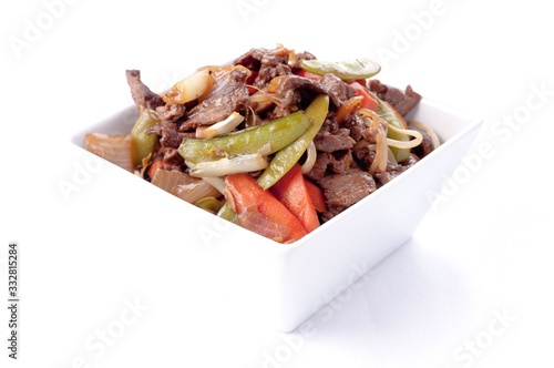 A home made beef stir fry with flank steak, fresh vegetables and c Canvas Print