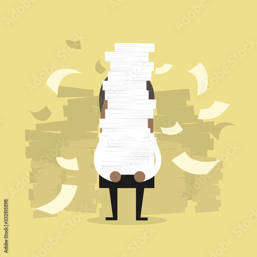 Vászonkép African businessman holding a lot of documents in his hands.