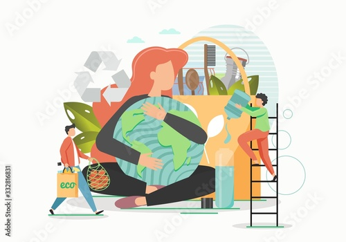 Eco friendly planet, vector flat style design illustration Wallpaper Mural