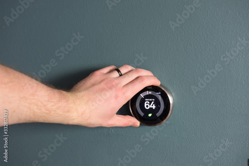 Green tech- Electric thermostat to save money and energy Canvas Print