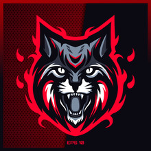 Angry Grey Lynx Roaring Esport And Sport Mascot Logo Design In Modern Illustration Concept For Team Badge Emblem And Thirst Printing. Grey Lynx Illustration On Dark Red Background. Vector Illustration