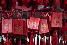 Closeup Of Religious Trinkets In A Chinese Temple