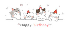Draw Banner Cute Cat For Happy Birthday.