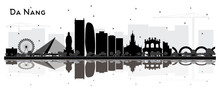 Da Nang Vietnam City Skyline Silhouette With Black Buildings And Reflections Isolated On White.