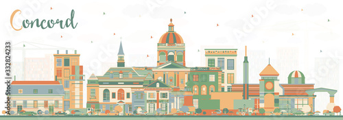 Fotografiet Concord New Hampshire City Skyline with Color Buildings.