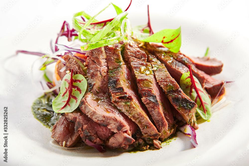 Fototapeta Tataki roast beef closeup view