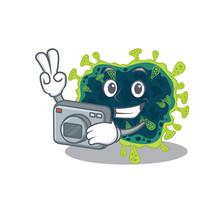 Beta Coronavirus Mascot Design As A Professional Photographer With A Camera
