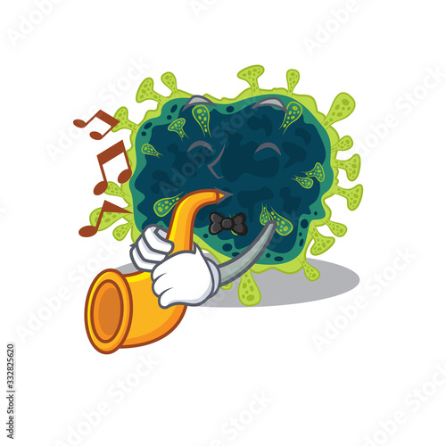 beta coronavirus cartoon character design playing a trumpet Wallpaper Mural