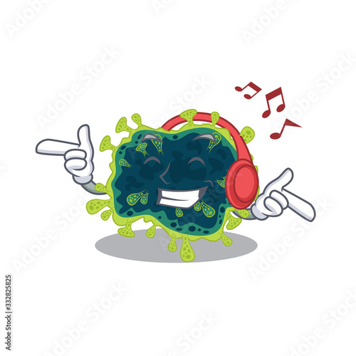 Photo enjoying music beta coronavirus cartoon mascot design