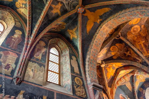 Obraz Lublin, Poland - Medieval frescoes and architecture inside the Holy Trinity Chapel within Lublin Castle royal fortress in historic old town quarter - fototapety do salonu