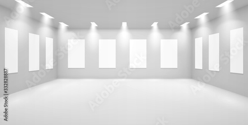 Obraz na plátně Art gallery empty 3d room with white walls, illumination lamps and blank banners hang around perimeter