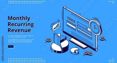Fotografía Monthly recurring revenue, mrr isometric landing page