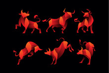 Gradient Bull Logo Icon Illustration Pack