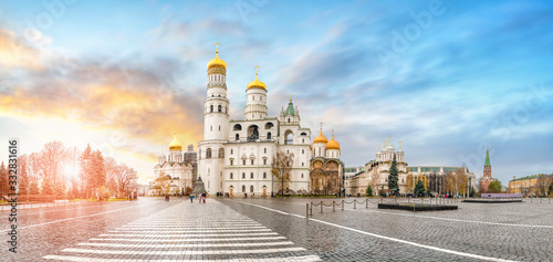 Photo Panorama of Cathedral square Kremlin, Moscow, Russia
