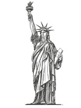 Statue Of Liberty, Symbol Of Freedom And Democracy In The United States Of America, Architectural Landmark Hand Drawn Vector Illustration Sketch Isolated On A White Background