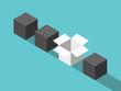 Unique open box, cubes