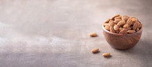 Almond Nuts In Wooden Bowl On ...