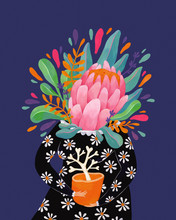 Thriving Conceptual Illustration Of Woman And Flower
