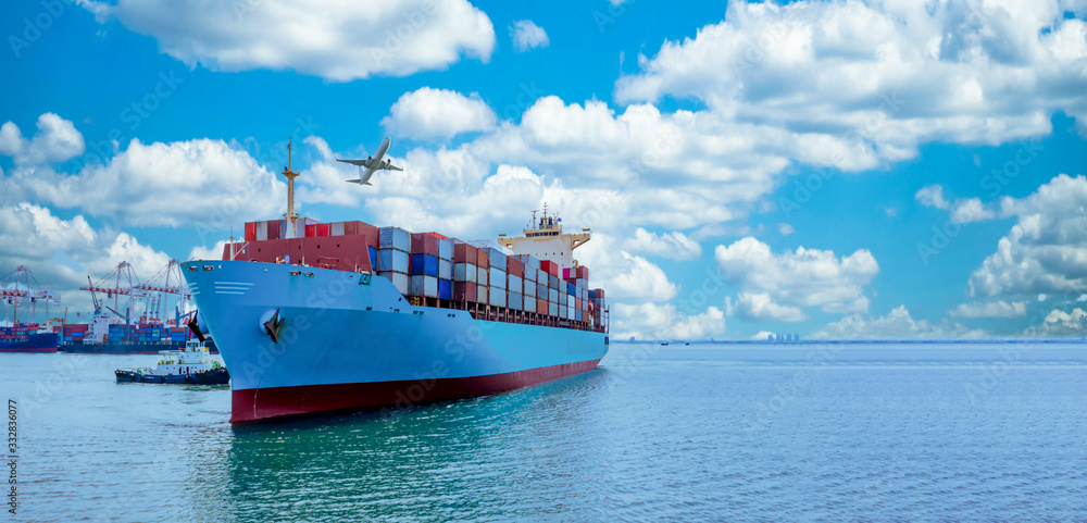 Fototapeta Aerial view container cargo ship, Global business import export commerce trade logistic and transportation worldwide by container cargo ship boat in the open sea, Freight shipping maritime vessel.
