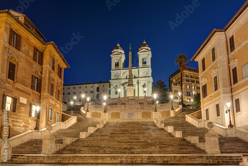 Fotografie, Obraz The famous Spanish Steps in Rome at night with no people