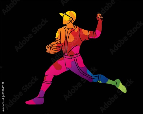 Canvas Print Baseball player action cartoon sport graphic vector.