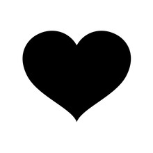 Heart Shape Black Isolated On White Background, Heart-shaped Flat Icon Symbol, Black Heart Shape For Decoration Valentine's Card, Heart Shape For Logo Graphic Design