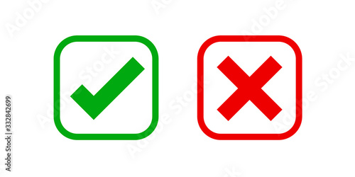 checkmark and x or confirm and deny square icon button flat for apps and website Wallpaper Mural