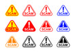 scam triangle sign label isolated on white, scam warning sign graphic for spam email message and error virus, scam alert icon triangle for hacking crime technology symbol concept