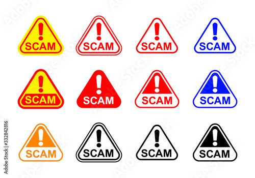 Photo scam triangle sign label isolated on white, scam warning sign graphic for spam e