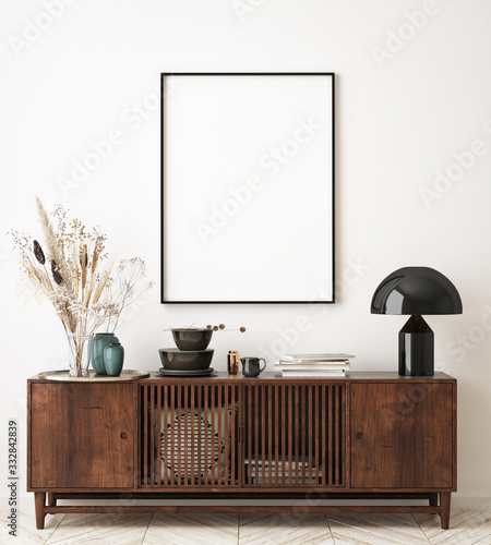 Fotografía mock up poster frame in modern interior background, living room, Scandinavian st
