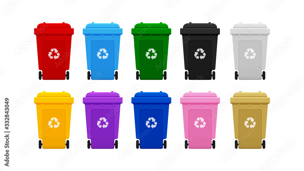 Fototapeta Bin Plastic Collection, Colorful Recycle Bin isolated on white background, Bins with Recycle Waste Symbol, Front view set of the Bins Plastic, 3r