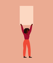 Young Woman Holds A Blank Placard Above Her Head. Concept Of Protest And Female's Empowerment Movement. Vector Illustration