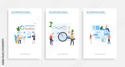 Set of recruitment agencies, applicants and job interviews Wallpaper Mural