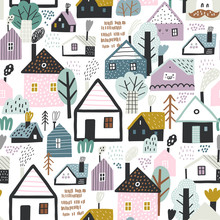 Seamless Pattern With Cute Vil...