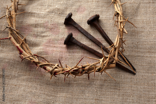 Canvas Print Jesus Christ Crown of thorns with three nails